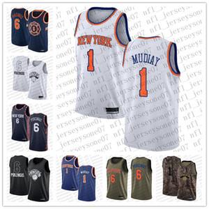 Мужские женские молодежи Нью-ЙоркКолебание1 Emmanuel Mudiay # 6 Kristaps Porzingis Blue Basketball Swingman IconИздание Пользовательские Джерси