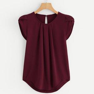 2019 Kadınlar şifon Katı Saf Temel Yumuşak Kırmızı Bluzlar Yaz En Popüler Basit Gevşek Kısa Kollu Bluz Bayan Gömlek Yelek blusa Tops