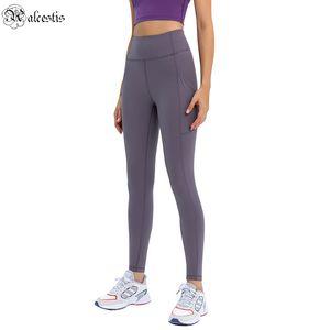 2021 جديد ضيق طماق جيوب جانبية عارية اليوغا السراويل المرأة الخصر تمتد سليم الرياضة اقتصاص السراويل