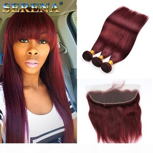 Burgundy Wine Red 99J Human Virgin Hair Weave Bundles with closure Peruvian Straight With Baby Hair 13x4 Frontal Human Hair Extension