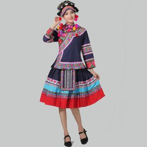 les femmes de vêtements ethniques traditionnels Hmong costume de danse pour les chanteurs vêtements festival national miao femme élégante d'usure de l'étage asie