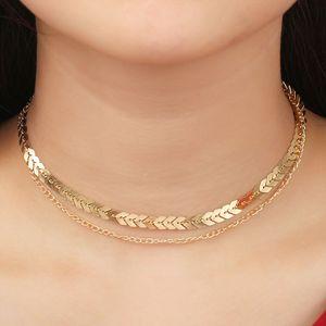 Европейский и американский простой двухслойный ожерелье рыбы кости шеи, ручной ключицы цепи ожерелье, многослойное ожерелье