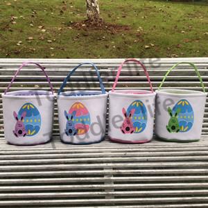 Easter Bunny Baskets Cartoon Rabbit Bucket Colorful Easter Egg Pail Monogram Eggs Hunt Bag Kids Gift Organizer 4 Designs 120pcs YG1018