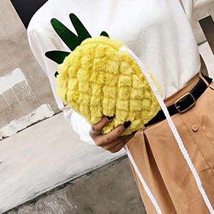Fauxe Fur Crossbody Bag Pineapple Shape Messenger Shoulder Bag For Female Hand Bags Fruit Handbags purse for girls