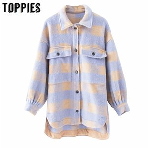 Toppies vintage lattice long jacekt coat women spring shirt jacket oversized plus size women jacket 201015
