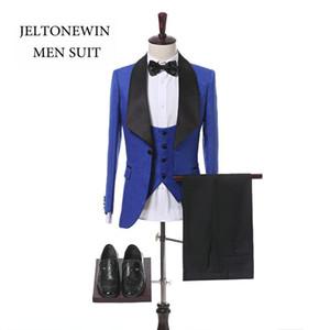 New Fashion Brand Royal Blue Groom Tuxedo Shawl Lapel Men Suits 3 Pieces Slim Fit Suits For Wedding Dress(Jacket+Vest+Pants+Bow)