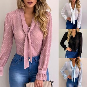 Blouses Women 2020 Pink Blouses Shirt Sweet Office Style Women V neck Chiffon Tops Long Sleeve Shirt blusas mujer Plus Size 5xl