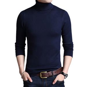TFETTERS Slim Thickened Men's Base Coat Turtleneck Sweater Men Sweater Black Sweater Knitwear Long Sleeve Slim Sweaters 201022