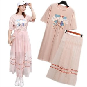 2 Piece Set 2019 Summer Womens Cotton Long Lace Up T shirt Mesh See Through Skirt Sets Young Girls Fashion Streetwear Suits