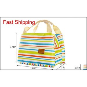 Waterproof Lunch Bags Portable Insulated Food Picnic Tote Thermal Cooler Lunch Bags Stripe Picnic Storage Bag qylxTr packing2010