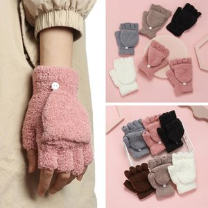 1 Pair Fashion Coral Velvet Clamshell Half Finger Gloves Thick Warm Winter Boys Girls Dual-use Mittens Student Writing Gloves