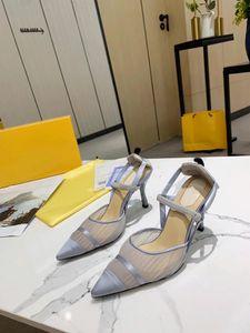 2021 Nuevas mujeres Tacones altos Partido Fiesta Fashion Rivets Girls Sexy Shoes Puntos puntiagudos Bud Silk Gauze Shoes Zapatos de boda Sandalias con Tamaño 35-42