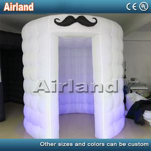 LED-Leuchten tragbares aufblasbare Fotokabine Zelt mit Schnurrbart Zum Verkauf Round Fotokabine Fotografie Kulissen Inflatable Photo Booth Requisiten