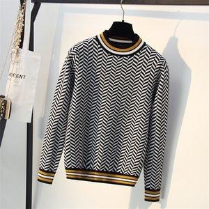 Bygouby Luxury Jacquard Strick Frauen Pullover Herbst Winter Weihnachtsbaum Patern Rollkragenpullover Gestreifte Pullover Jumper Tops LJ200917
