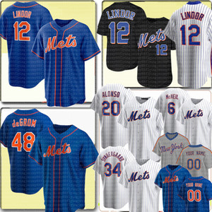 12 Francisco Lindor Jersey 48 Jacob DegroT 20 Pete Alonso 6 Jeff McNeil Jersey Marcus Stroman Noah Synedergaard Darryl Strawberry Custom Cualquiera