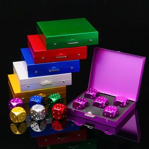 5 قطع الألومنيوم سبائك النرد ألعاب 16 ملليمتر النردات المعدنية حالة مستطيلة 6 من جانب النرد للحزب ألعاب الشرب