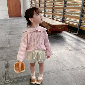 children wear spring 2021 new beautiful hollow out sweater baby girls lapel long sleeve sweet top1