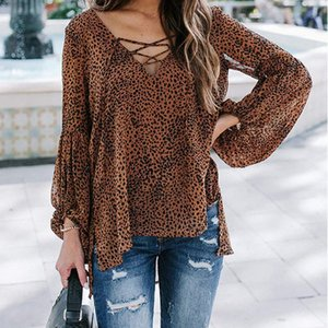 Leopard Print Tops for Women Autumn Loose Female Shirts Pullovers Casual V Neck Lace Up Long Sleeve Lady Chiffon Blouse Blusas
