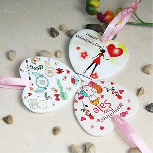 Ceramic DIY Double-sided UV Printing Valentine Day Gift Valentine Theme Fall In Love Pendant Ornament CCA3383