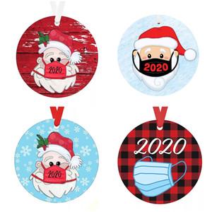 Nuovo 2020 Ornamento di Natale Santa con maschera di albero di Natale appeso ciondolo tondo Wooden Sign decorazione di Natale