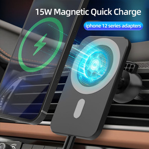 새로운 15W 빠른 무선 Magsafe 자동차 충전기 통풍구 iPhone 12 12 Pro Max iPhone 12 미니 자석 흡착 스마트 폰 자동차 홀더