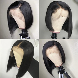HD lace Brazilian remy hair Wig Straight Short Bob Lace Front Wigs 150% density Lace Front Human Hair Wigs Pre-plucked With Baby Hair
