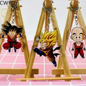 Anime Ball Key Chains Son Goku Transparent PVC Keyring Holder Cute Acrylic Figure Pendant Keychain Collection Trinkets