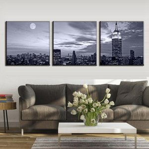 Wall Art Pictures Home Decor Posters Frame 3 Pieces New York City Night Landscape Living Room HD Printed Modern Canvas Painting