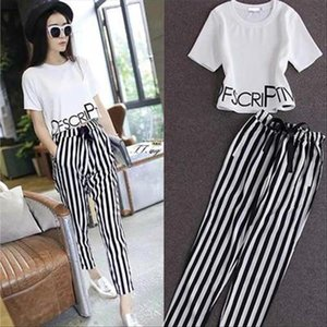 2pieces summer set women tracksuit outfit casual lovely printing cotton letter short t shirt tops striped harem pants sweatshirt