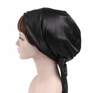 Ladies Satin Bow Fowscarf Turban Soft Sleeping Bonnet Capelli Wrap Women Cap1