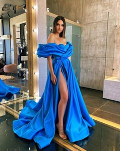 Women Arabic Prom Dresses Party High Split Robe De Soiree Royal Blue Evening Gowns Long 2020 Off Shoulder Celebrity Dress