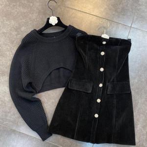 DEAT 2020 Autumn Winter Women New Fashion Round Neck Long Sleeve Short Sweater Diamond Button Dress Two Piece Set RD542