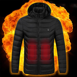 حار بيع الرجال ساخنة الستر في الهواء الطلق في فصل الشتاء معاطف USB الكهربائية كم طويل مقنع الستر ذكر دافئ شتاء الحرارية الملابس الجديدة