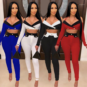 Outfit Skinney Panelled Long Sleeve Sling Exposed Navel Suit Fashion Casual Female Clothing Women Two Piece