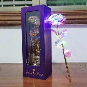 Valentine's Day Gold Rose Creative Gift 24K Foil Plated Rose Lasts Forever Love Wedding Decor Lover Lighting Rose Flower DBC BH4232
