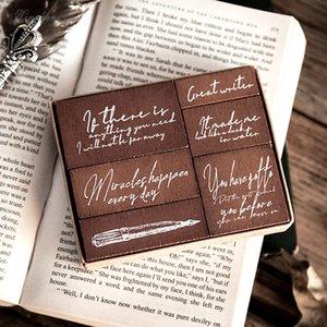 6pcs set Vintage Pen English poetry stamp DIY wooden rubber stamps for scrapbooking stationery scrapbooking standard stamp Q1114