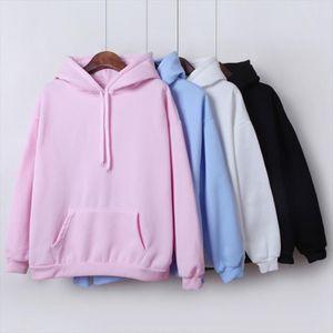 2020 New Social Harajuku Hoodies For Girls Solid Color Hooded Tops Womens Sweatshirt Long sleeved Winter Velvet Thickening Coat