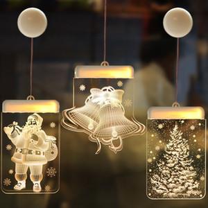 Fata Warm White Christmas pollone della finestra lampada Campana Elk fiocco di neve Xmas Tree Sign Design Hanging Light Power Battery Capodanno Led