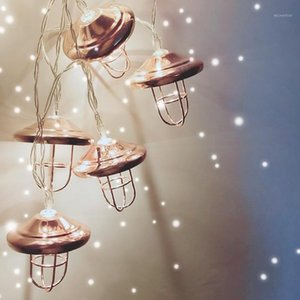 Retro Lampshade Shaped Light String Industrial Style Wrought Iron Rose Gold Geometric String Coffee Shop Party Decoration1