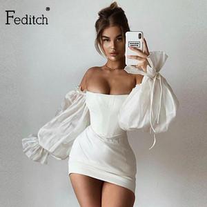 Feditch 2020 satén blanco atractivo del vestido del verano de la linterna mangas mini vestido ajustado de las mujeres delgado Noche Sólido partido del club Vestidos