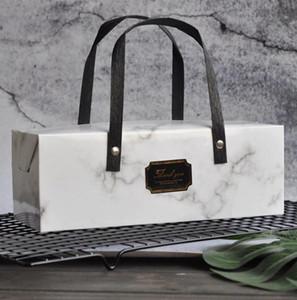 휴대용 대리석 디자인 종이 케이크 상자 선물 상자 핸드백 초콜릿 파티 쿠키 상자 25cm * 9cm * 9cm