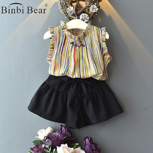 2021 Girls' Suit Summer New Arrivals Baby Korean Fashion Striped Chiffon Sleeveless Top Two Piece Children's Clothing Girls Kids Clothes