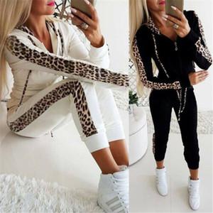 Fashion Women Sets Women Black White Leopard 2 pcs Sweatsuit Cotton Summer Pullover Suits outfit Two Piece Tracksuits