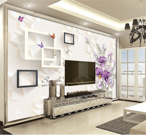 Custom Photo Wallpaper 3d Modern Minimalist Purple Lily Stand Living Room TV Background Bound Wall Painting Wallpaper