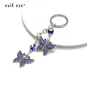 EVIL EYE Butterfly Pendant Keychain Blue Turkish Eye Bead Silver Color Key Chain Ring Car Keyring Jewelry for Women Girls EY2669