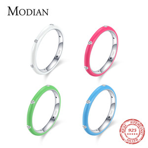 Modian 2021 Real 925 Sterling Silver Rainbow CZ Simple Moda Anillo de dedo Esmalte Apilable Anillos Para Mujer Marca Joyería Fina Desig Moda