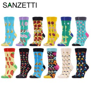 SANZETTI 12 Pairs Women's Combed Cotton Crew Socks Happy Funny Colorful Lovely Flowers Fruit Golf Novelty Wedding Gifts Socks 201012