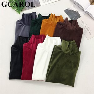 GCAROL New Arrival Fall Winter Women Pleuche Turtleneck Sweater Stretch High Quality Smooth Thick Pullover Basic Warm OL Tops 201017