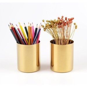 400ml Nordic Style Brass Gold Vase Stainless Steel Cylinder Pen Holder For Desk Organizers And Stand Multi Use Penc wmtfTR toys2010