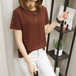 2020 New Women T Shirts Casual Solid Color T Tops Tee Summer Female Shirt Short Sleeve Loose 5Xl Shirt For Women
